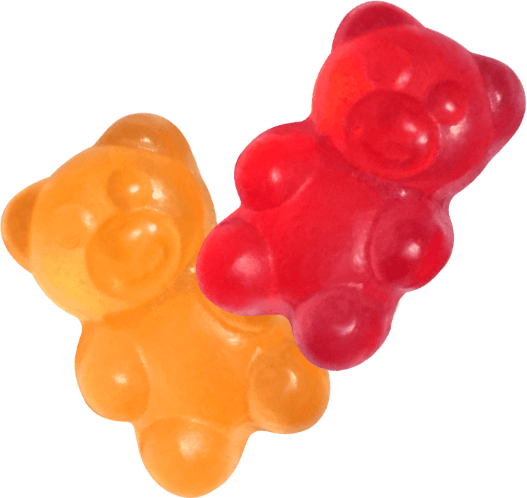 Orange and Red gummy bear vitamins